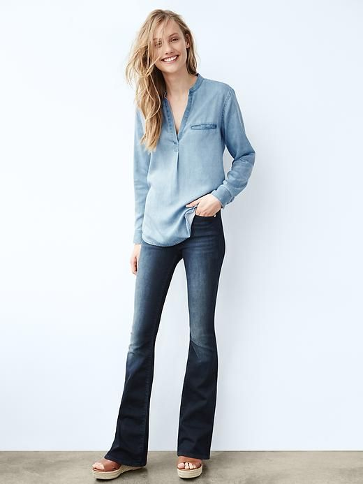 Gap petite skinny flare jeans. Finally in mid rise. Back ordered ...