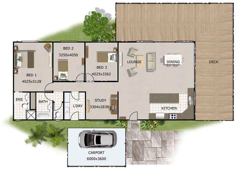 Plano de casa grane con tres dormitorios y dos cuartos de