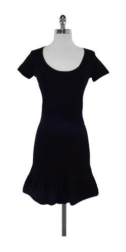 Sandro Black Cotton Short Sleeve Dress