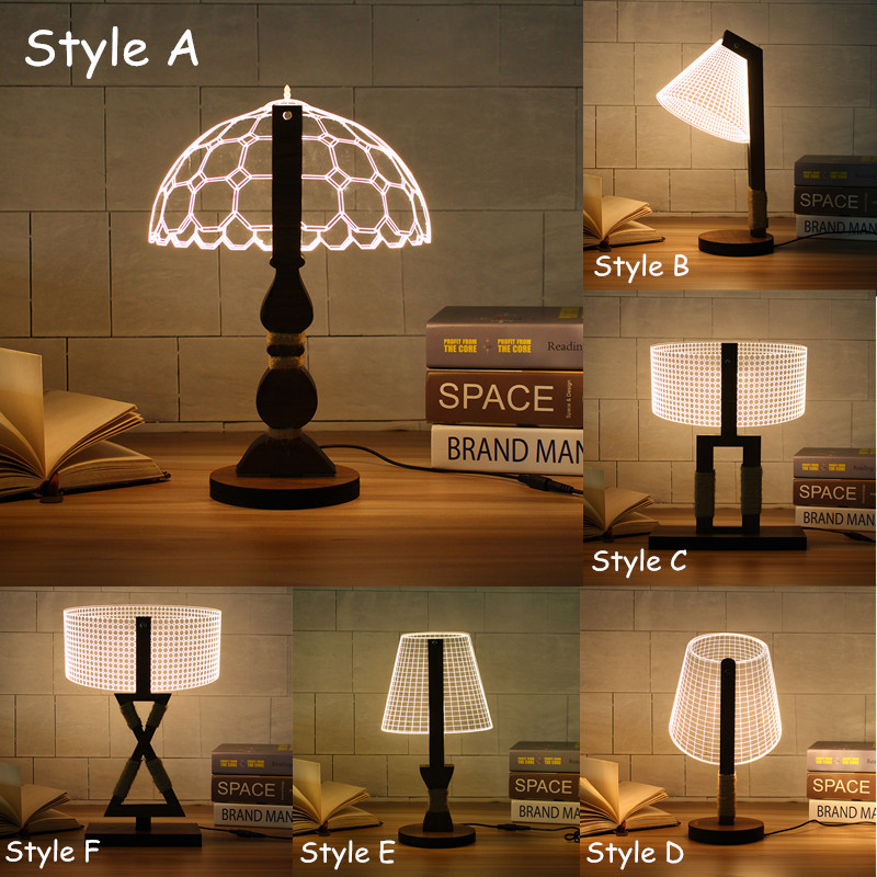 Dimmable Acrylic 3d Led Table Lamp Base Wood Eperiodled Table Lamp Base Led Table Lamp Lamp