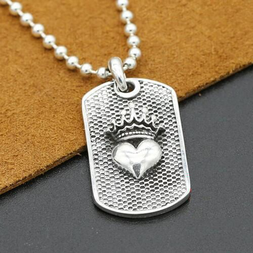 2e9434facb796 Men's Sterling Silver Crown Heart Tag Necklace with Sterling Silver ...