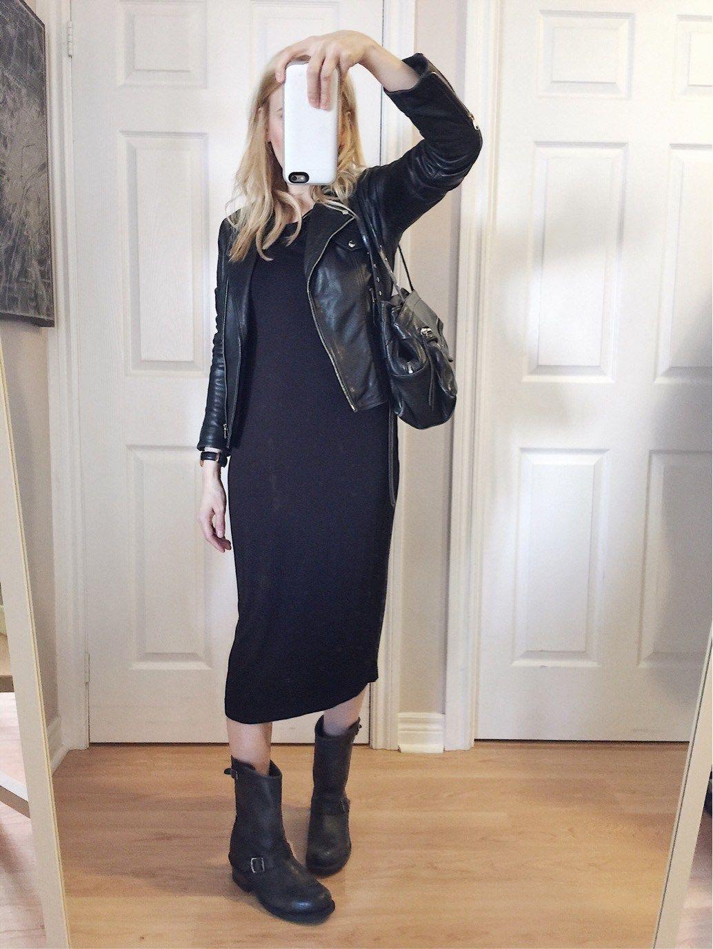 Black Sheath Dress Leather Jacket Frye Engineer Boots Leather Dress Outfit Casual Dress Outfits Sheath Dress Outfit [ 1376 x 1034 Pixel ]