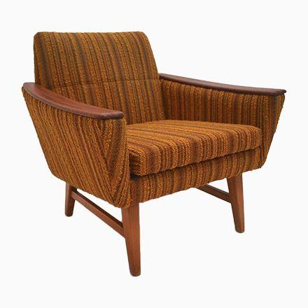 Norwegischer Sessel aus Teak  Gelb Gestreifter Wolle, 1960er Jetzt