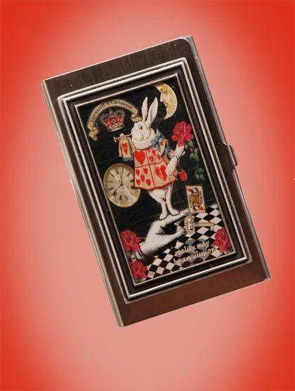 White Rabbit Collage Art Card Case