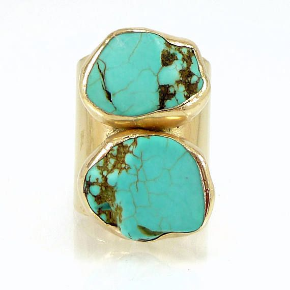 Gold Turquoise Ring Cuff Ring Raw Gemstone Ring Gold Band