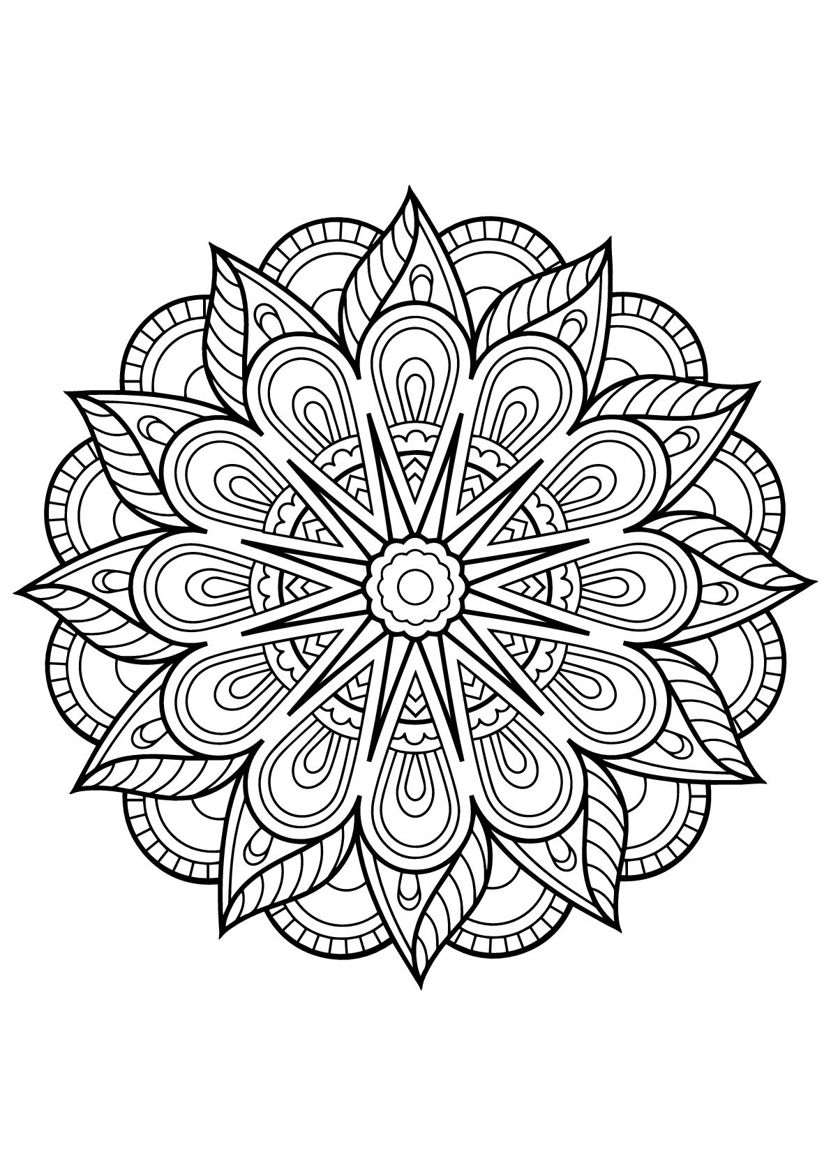 Incredible mandala from free coloring book for adults