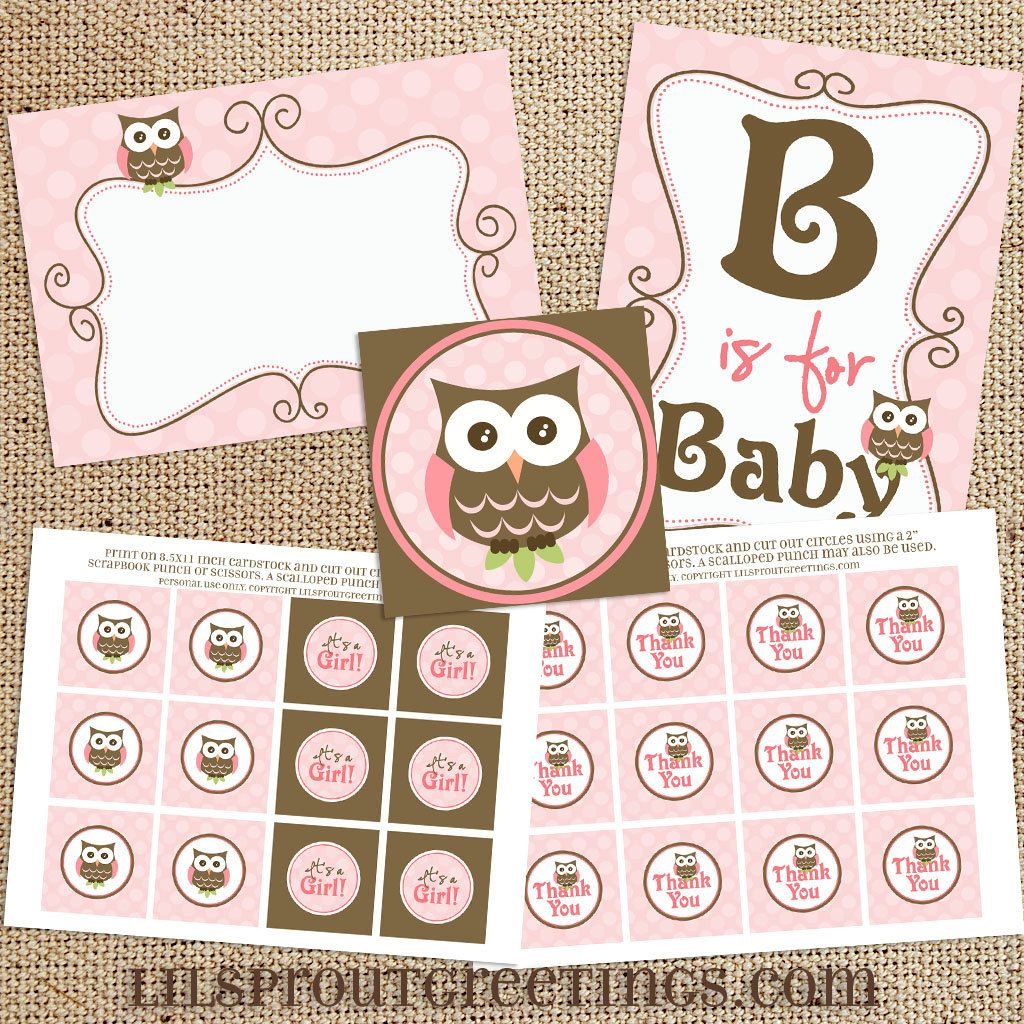 Girl owl baby shower printable decorations instant download pink brown print your own - Girl owl decor ...