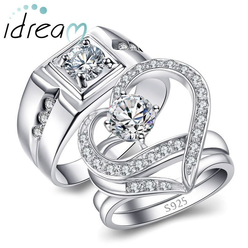 Cubic Zirconia Diamond Engagement Rings Set For Men And Women