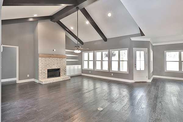 I love grey walls, white trim & hardwood floors. This - Plan 36061DK: Bright And Airy Craftsman House Plan Grey Walls