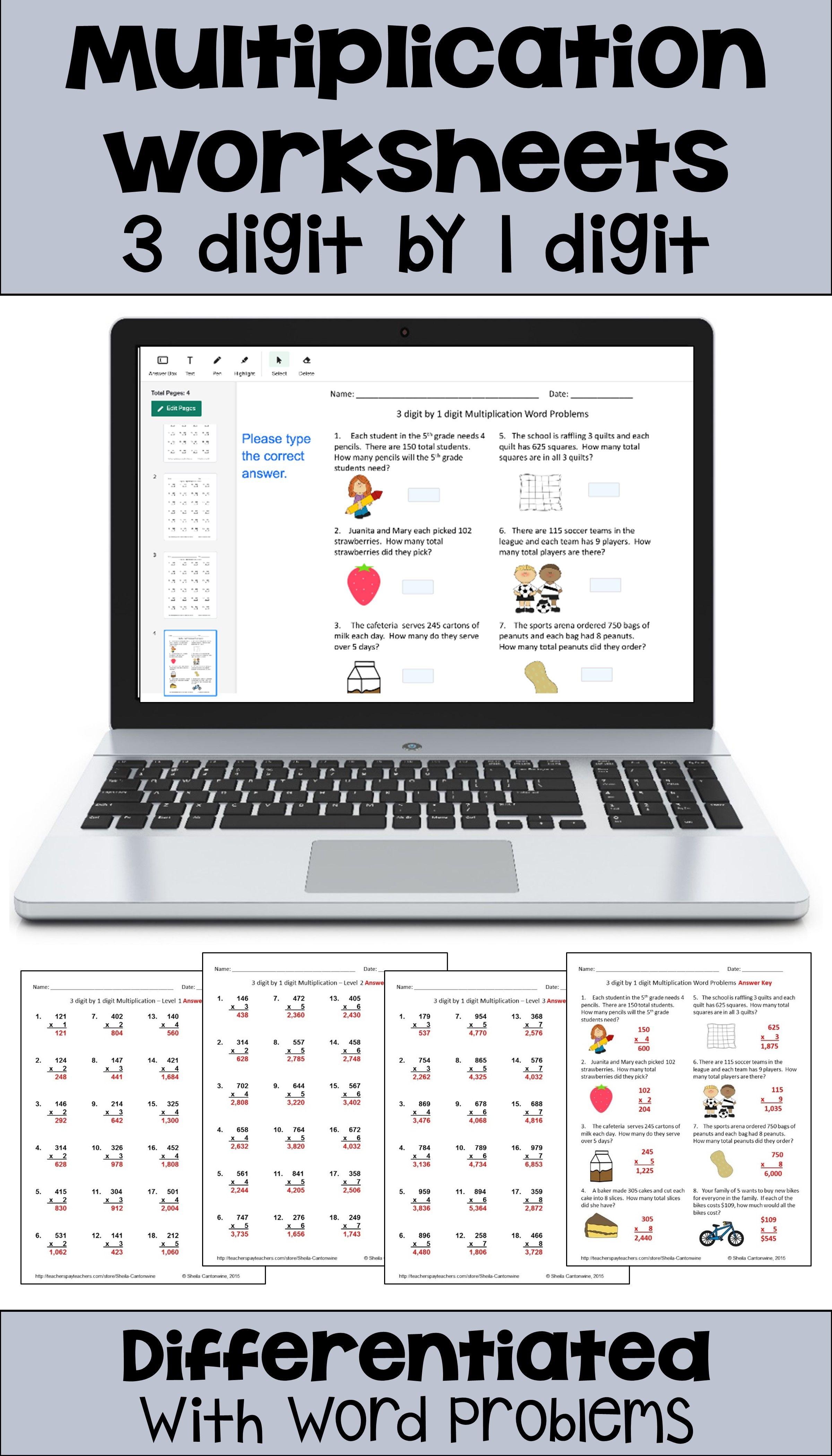 Multiplication Worksheets 3 Digit By 1 Digit With Digital