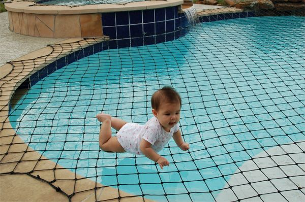 A swimming pool net will keep small children from getting into the pool unsupervised.