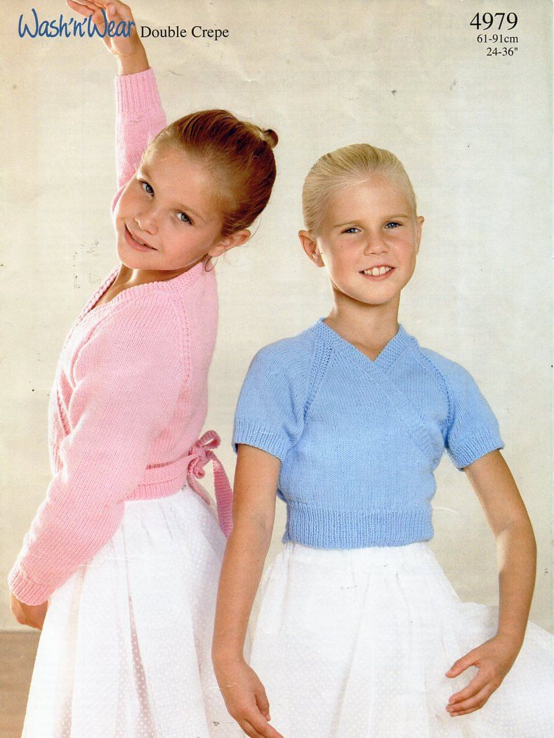 98c92a1cc90d2f girls ballet tops knitting pattern pdf DK or 4ply cross over ballet  cardigans Vintage 24-36 inch DK 4ply 8ply Light worsted Instant download by  Minihobo on ...