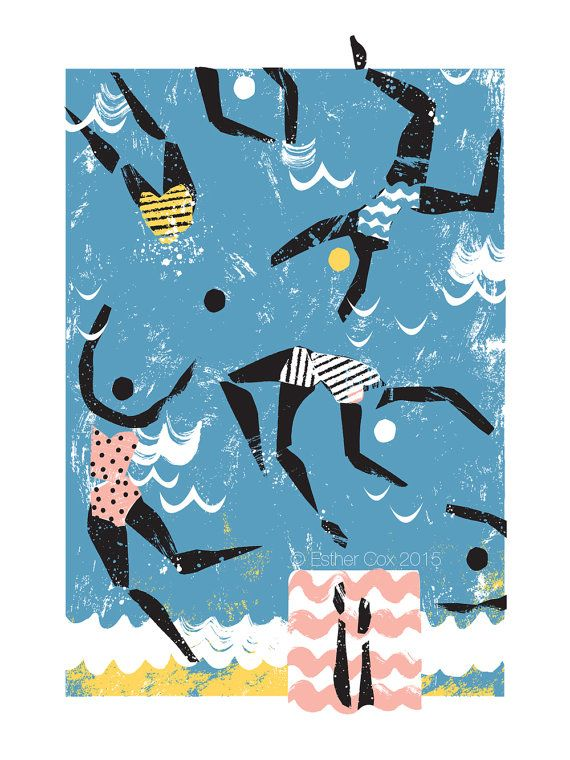 Sea Swimmers Print by EstherCoxsKiosk on Etsy