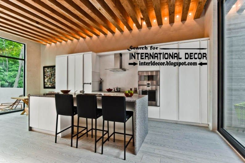 Modern Kitchen Ceiling Designs Ideas Tiles Lights Beams