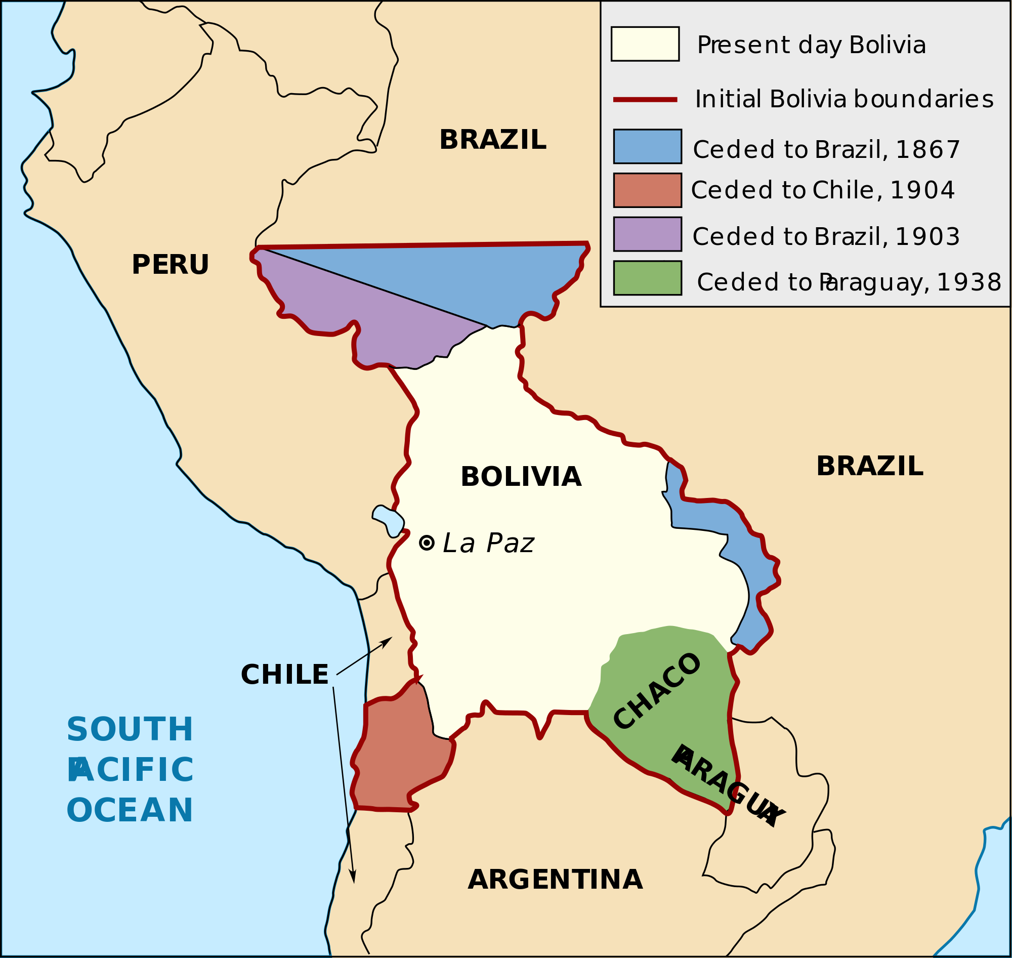 A map of Bolivias historical territorial losses The World