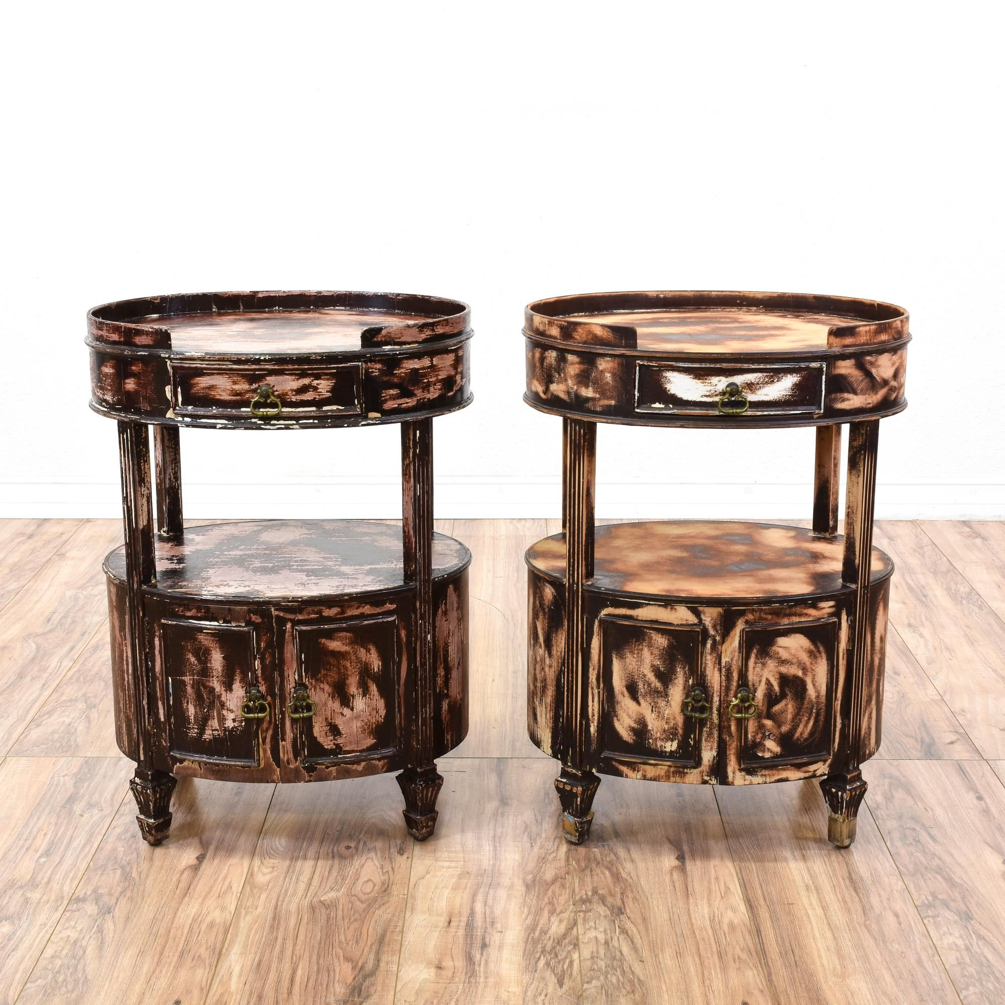 Best These Round Nightstands Are Featured In A Solid Wood With 400 x 300