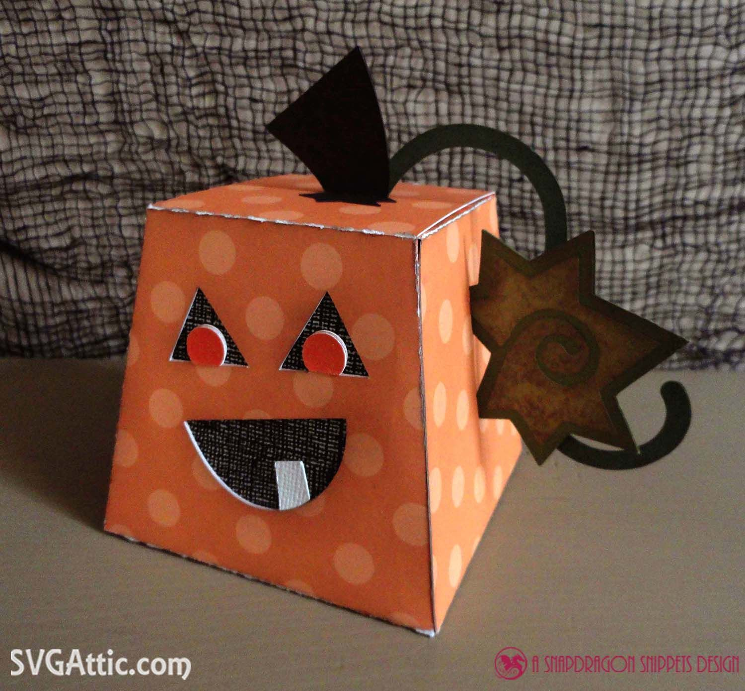 3D paper trapezoid pumpkin treat box svg file from SVG