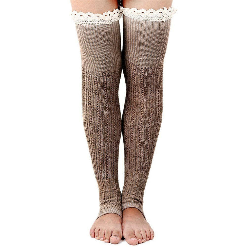 Wildestdream womens lace trim knit leg warmers boot socks khaki