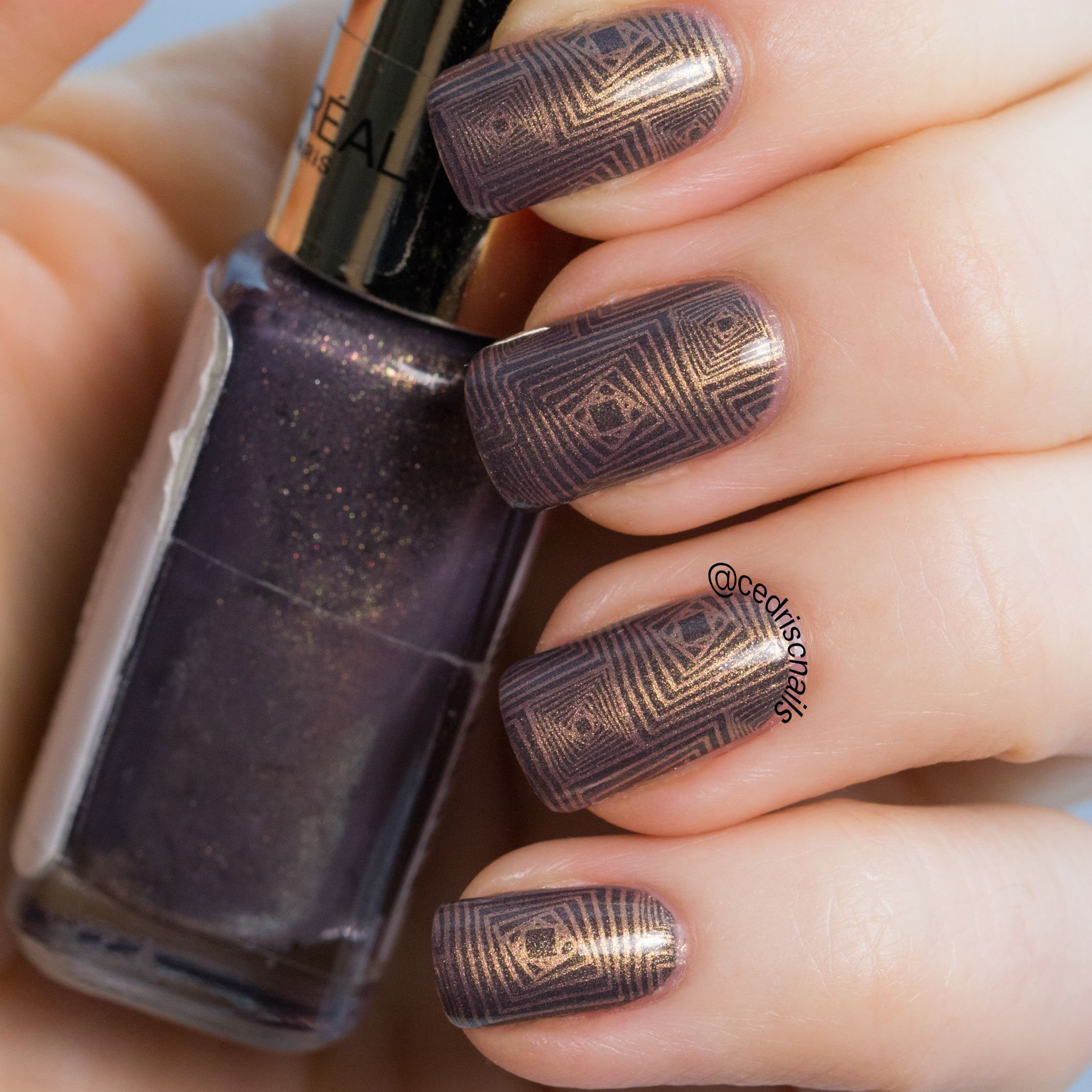 Geometric nail art. Base polish is Loreal mysterious icon, stamped ...