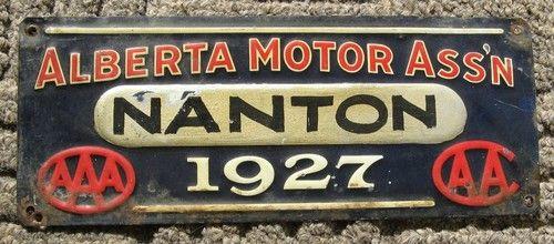 License plate from Alberta Motor Association.