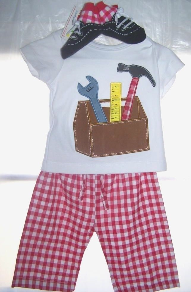 NWT Mud Pie Baby Boy Tool Box 3 Piece Outfit Set 0 - 6 Months Shirt Pants  Shoes e9e80c3569