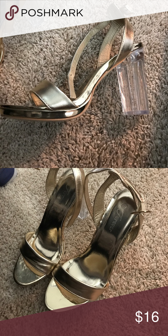 best prices limited guantity best authentic Gold platform clear heel sandal 3 inch thick heel easy to ...
