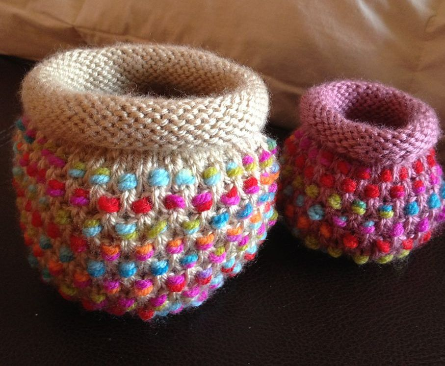 3602dfd5d7b1 Free Knitting Pattern for Dotty Pots - Colorful baskets that are ...