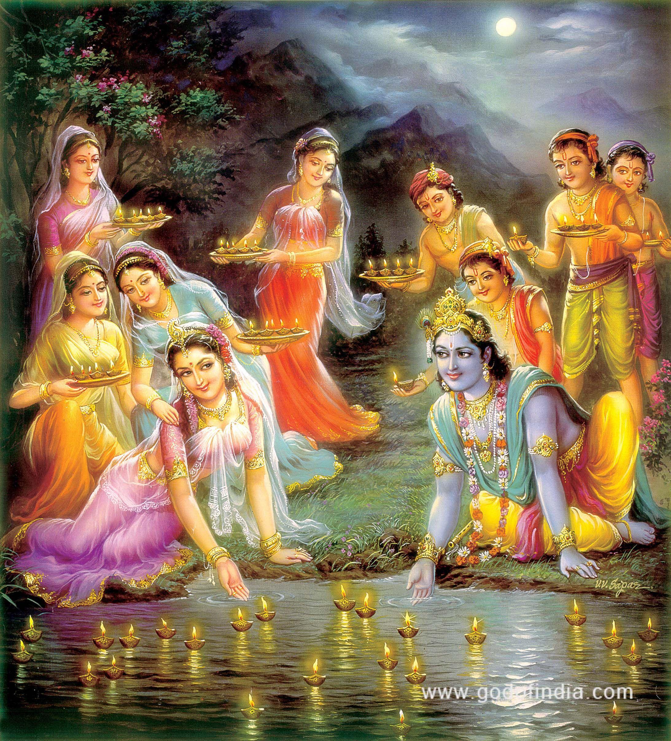 Rare And Beautiful Hand Painted Krishna Radha Gopi Radha