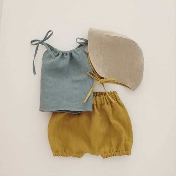 Baby Linen Bonnet Summer Hat Revercible Sun Hat Natural