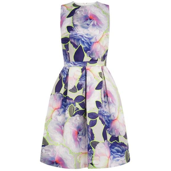Warehouse Neon Floral Prom Dress, Multi (635 NOK) ❤ liked on Polyvore