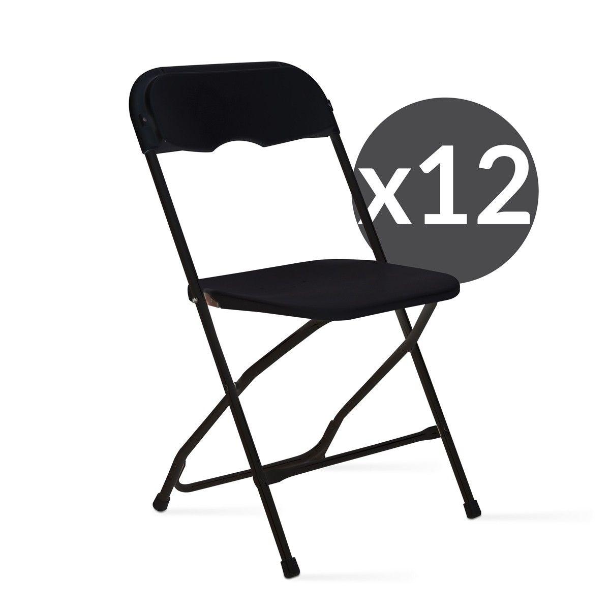 Ensemble De 12 Chaises Pliantes Noires Reception Jardin Taille