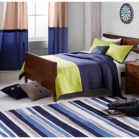 Better Homes and Gardens Blue Multi Stripe Area Rug, Multicolor