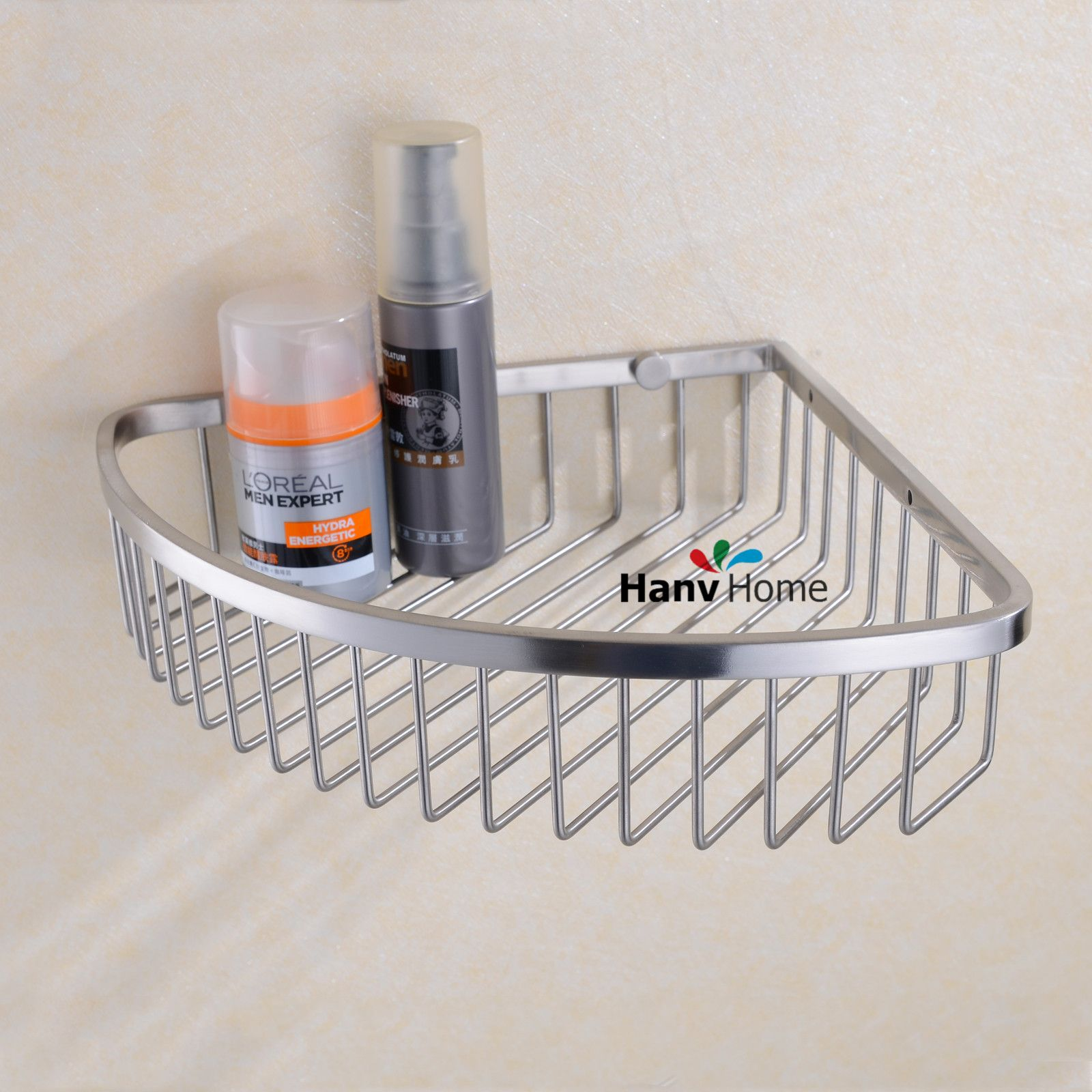 Brushed Nickel Stainless Steel Corner Shower Basket Construction