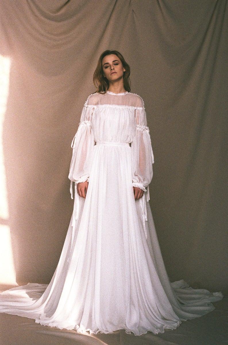 Bohemian wedding dress Statement sleeve wedding