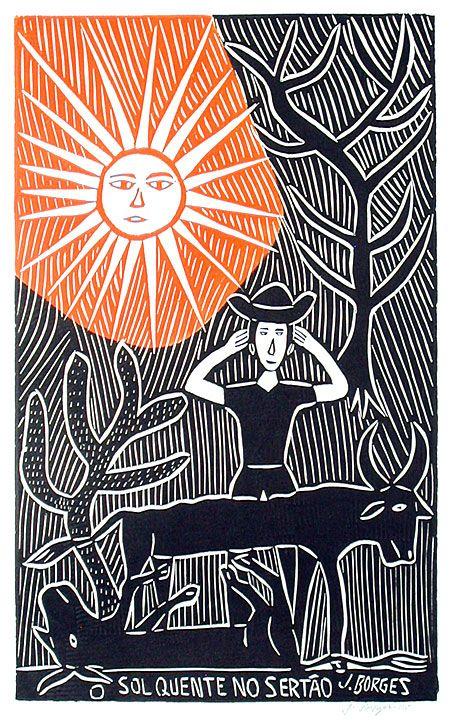 O Sol Quente No Sertao Jose Francisco Borges Brazil Woodcut