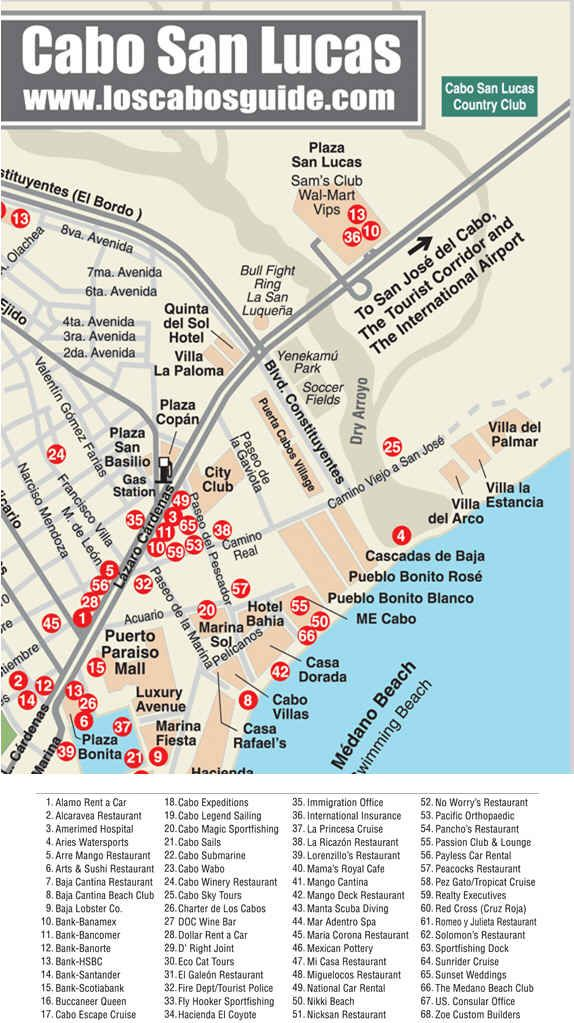 Map Of Resorts On Medano Beach Cabo Google Search