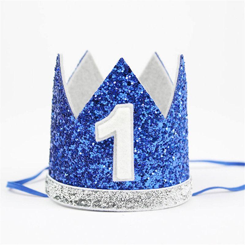 1pcs Blue Boys Girls Kids Princess King Crown Party Crown Cap Party Supplies New Cute Birthday Hats Birthda Baby Boy Birthday Boy Birthday Mickey 1st Birthdays