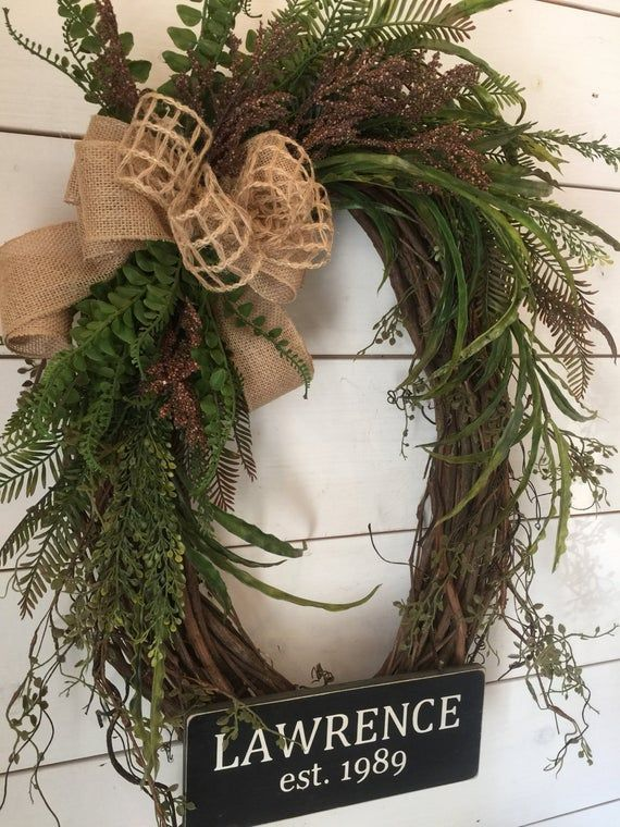 Oval grapevine wreath natural wreath greenery wreath year round wreath Large wreath door wreath rustic wreath last name wreath gift