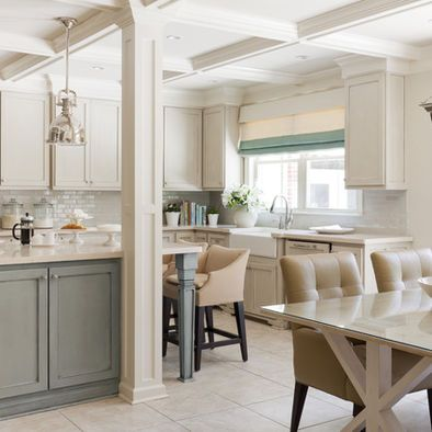 Gray Cabinets With White Cream Counters And Trim Aqua Accents