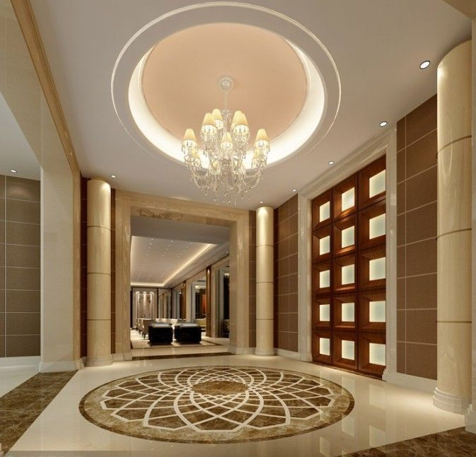 Marble Foyer Ideas : Luxury mansion interior entrance with medallion symbol on
