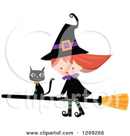 cartoon of a cute halloween witch riding a broomstick with a black cat royalty free - Halloween Witch Cartoon