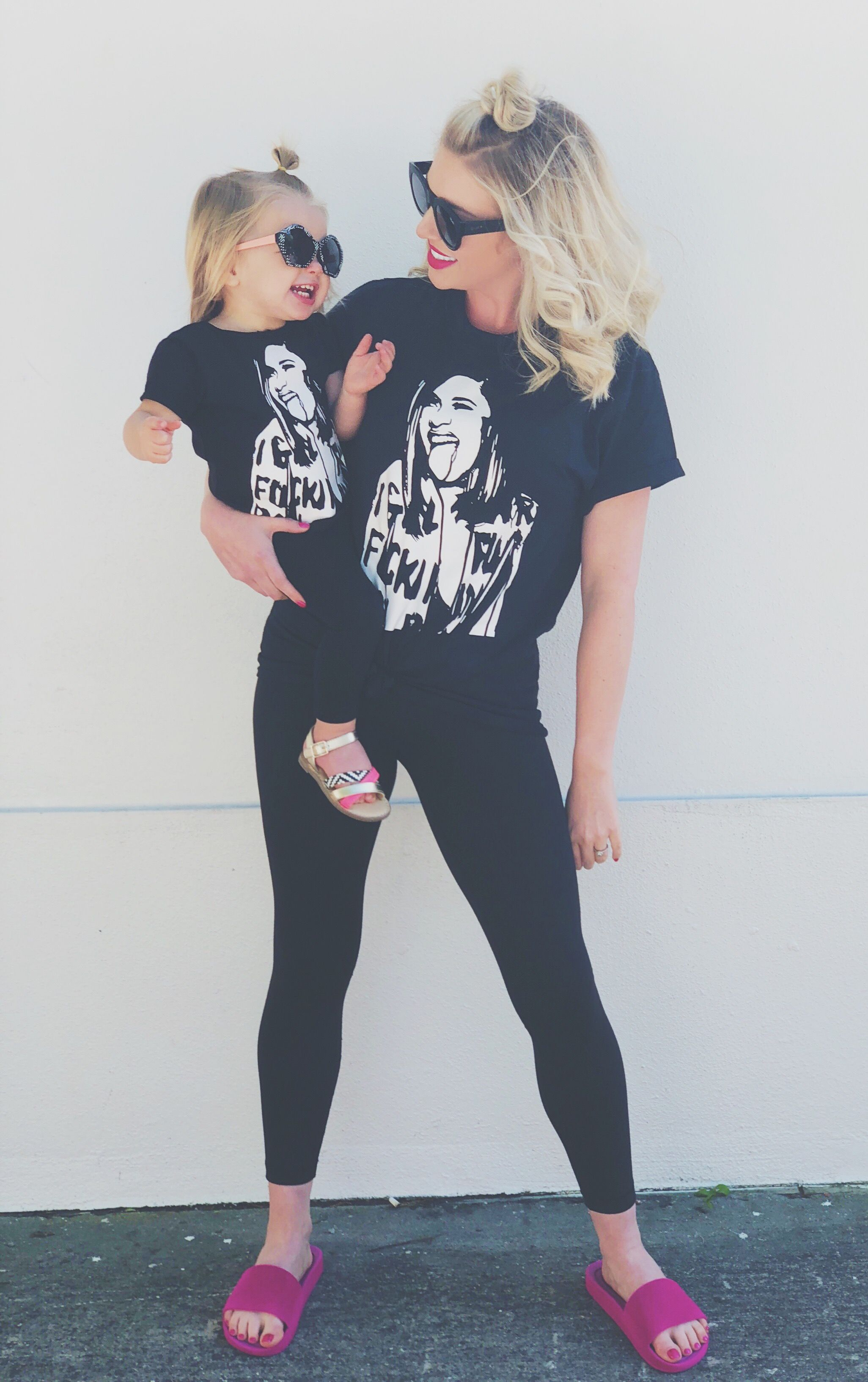 eedd10368a6 Mommy and me fashion style inspo matching Cardi B T-shirts   evy bee ...