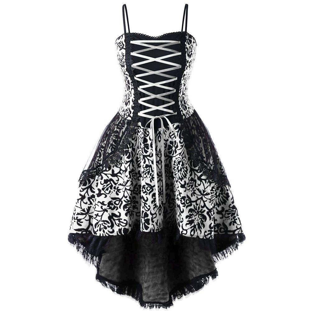CharMma Plus Größe 5XL Lace Up Dip Saum Korsett Kleid Frauen Vintage ...