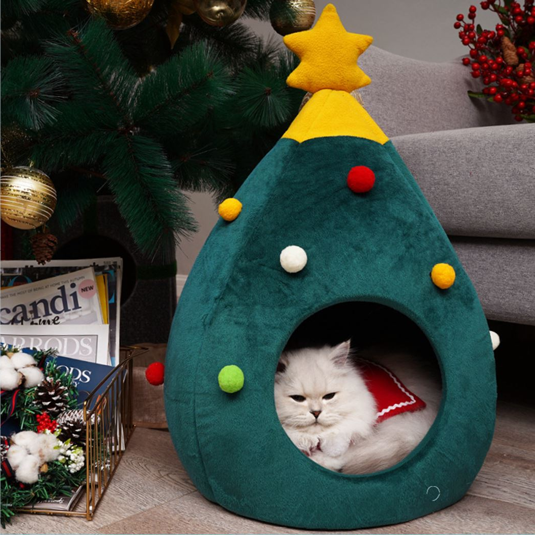 Kitty Cat Christmas Tree Cave Bed | Cat christmas tree, Christmas cats,  Christmas towels