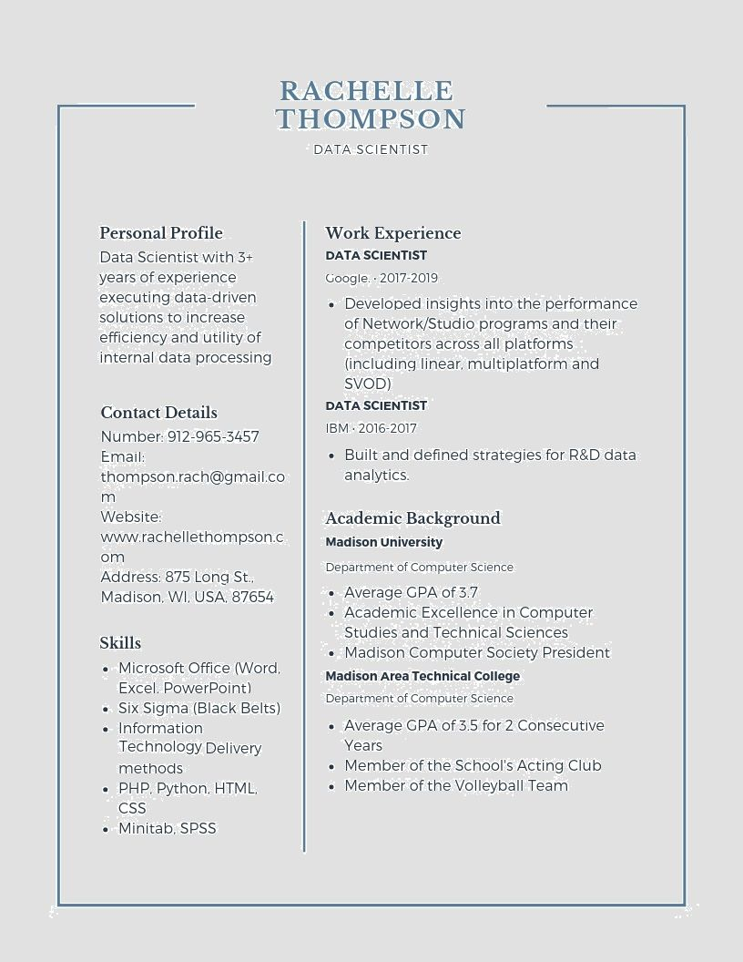 Want to create or improve your Data Scientist resume? The resume is