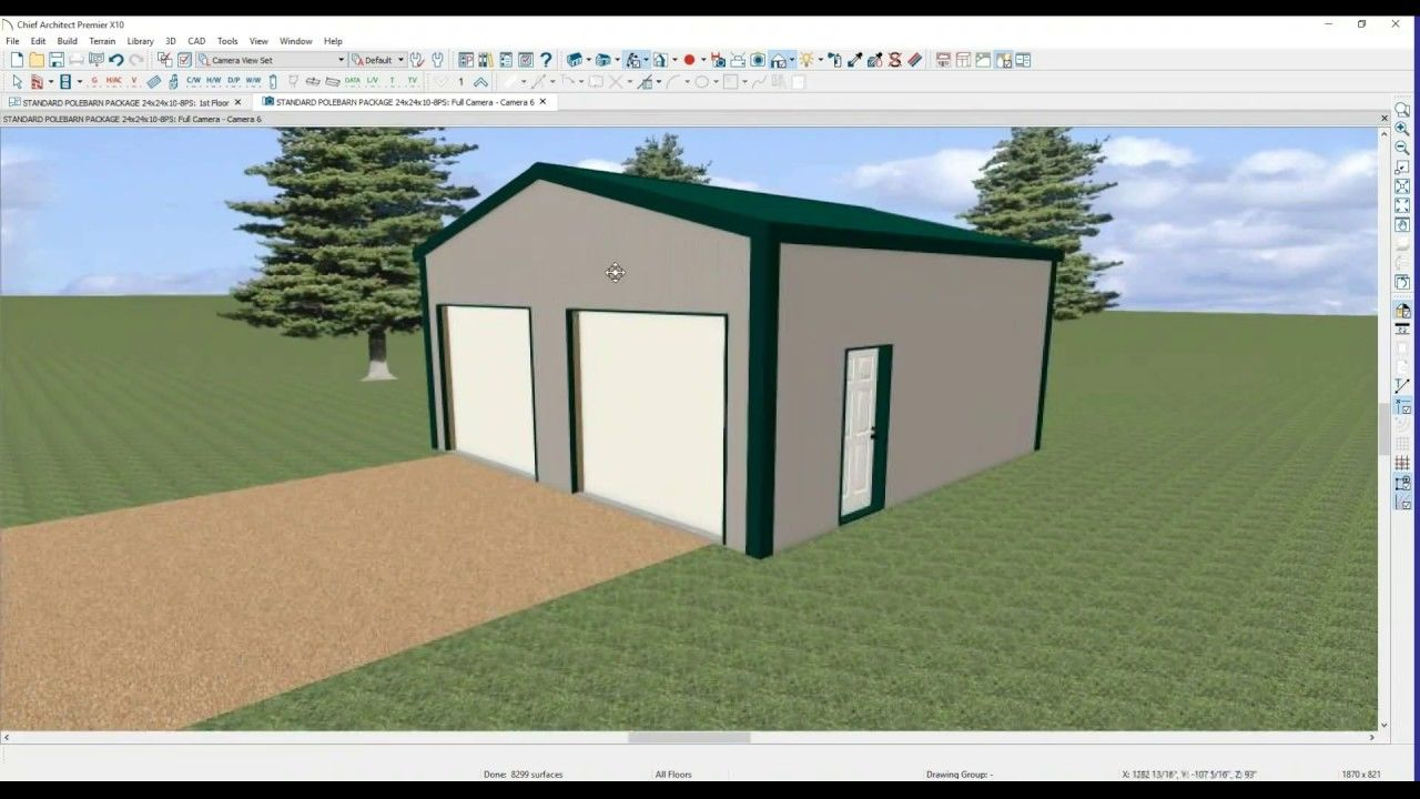 Best 24 Wide X 24 Long X 10 Tall Pole Barn 3D View With 400 x 300