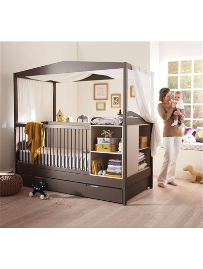 lit combin enfant volutif archipel avec tiroir blanc taupe beige vertbaudet enfant baby. Black Bedroom Furniture Sets. Home Design Ideas