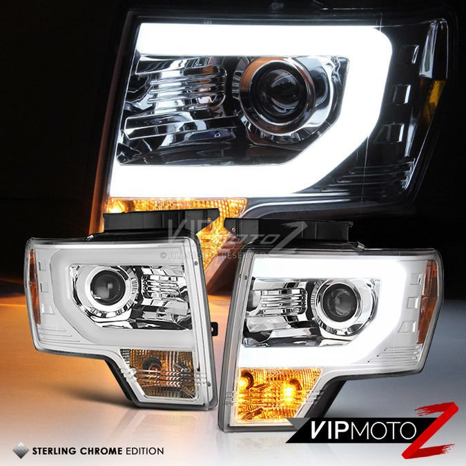 09 14 Ford F150 Raptor Style Led Neon Tube Drl Chrome Projector Headlight Lamp Ebay Ford F150 Ford F150 Raptor 2014 Ford F150