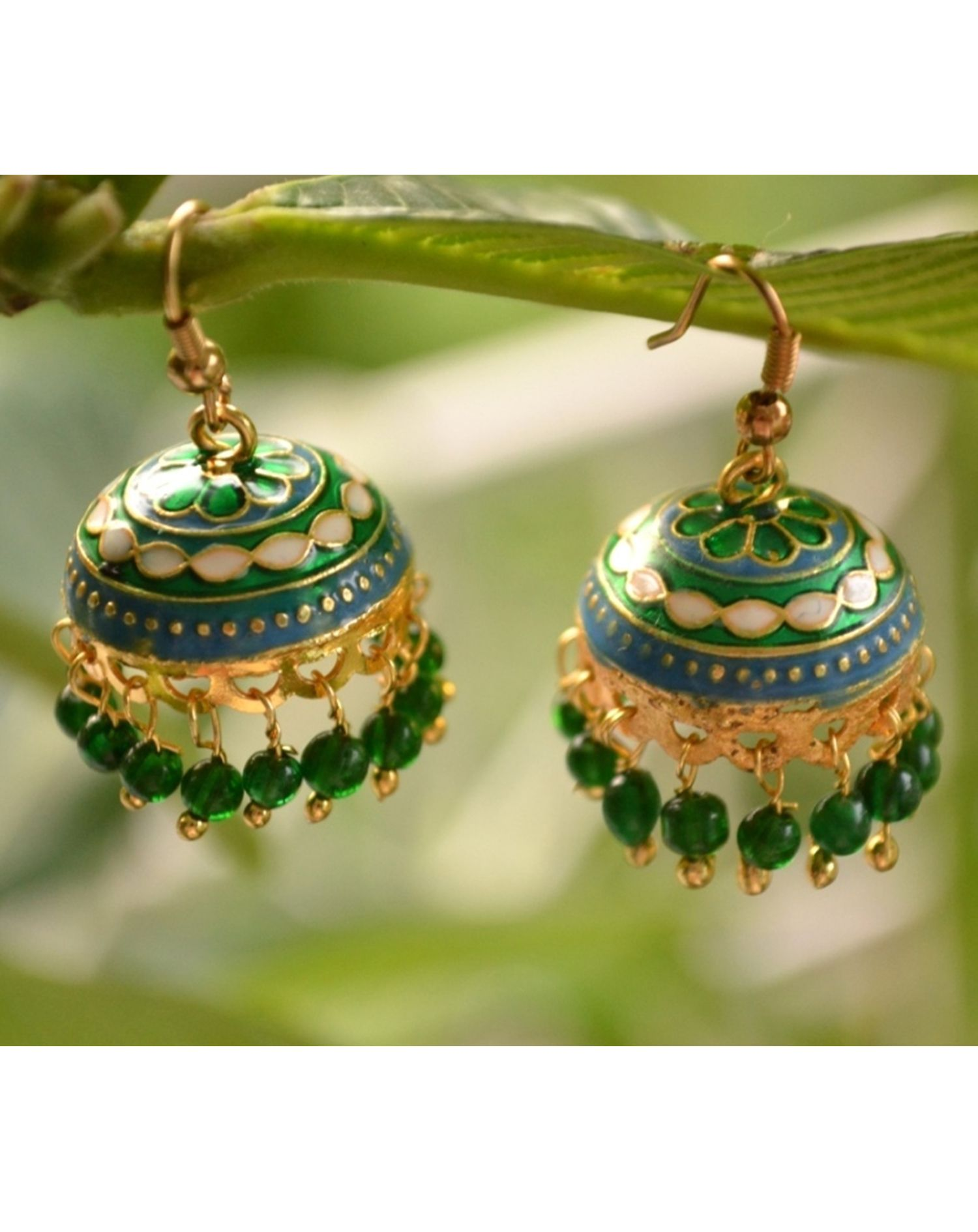 Shree Varam Green Meenakari Jhumka Earrings Online In India At Best Price Splash Some Ethnicity With These Fun Cute That Are Sure To E Up