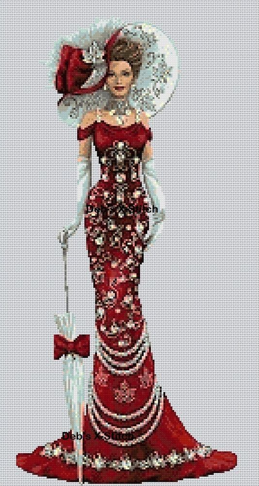 Cross stitch chart  Elegant Lady 156o full length     Flowerpower37-uk